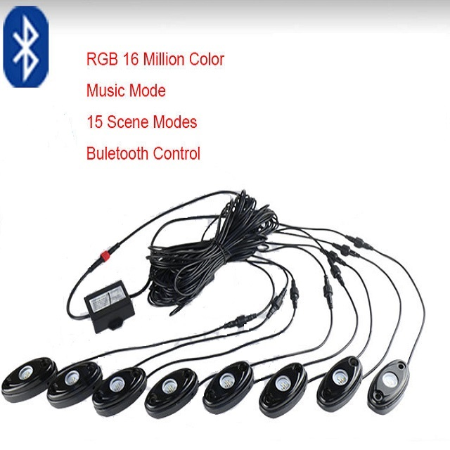 wireless control 8PODS RGB LED ROCK LIGHTS
