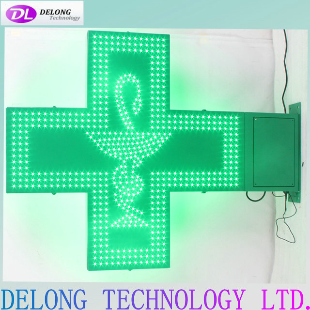 102X80cm double sided green flash led cross sign