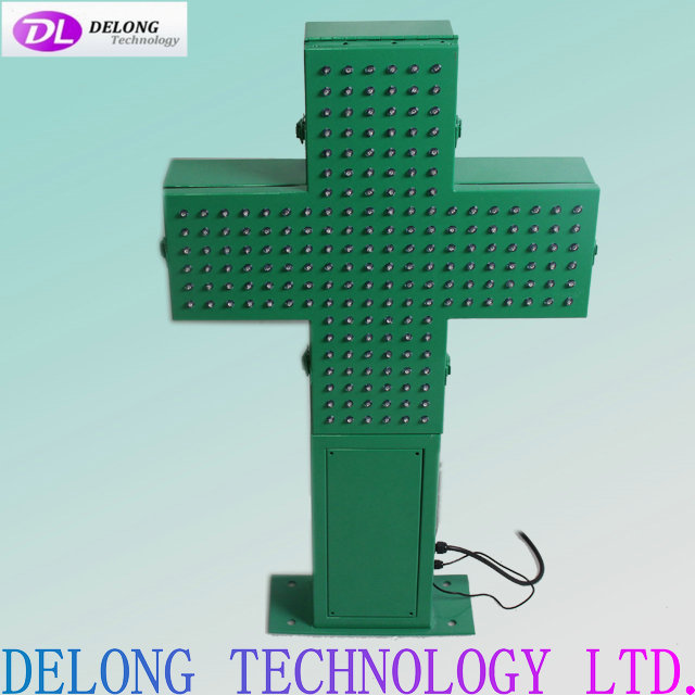 48X48cm outdoor double sided led green cross sign