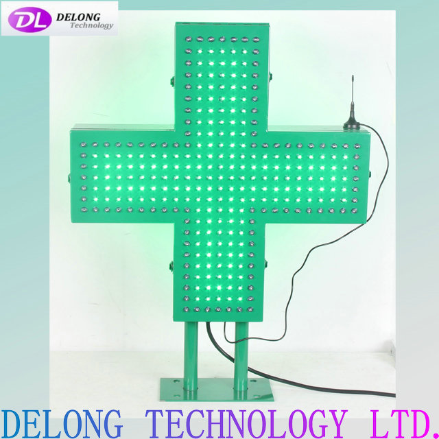 65X50cm two poles flashing outdoor remote control led pharmacy cross