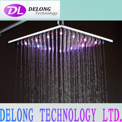 10inches 16pcs led rainbow color led waterfall shower head with brass frame