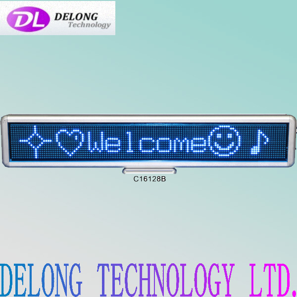 indoor 8 characters blue p4mm 16X128pixel dot matrix multi-language electronic display board