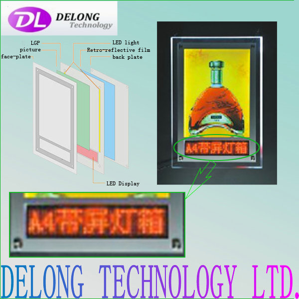 indoor A4 Crystal led panel light box with scrolling message led sign