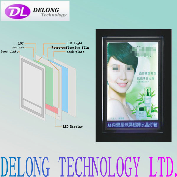 A1 size super bright slim crystal light box with LED display