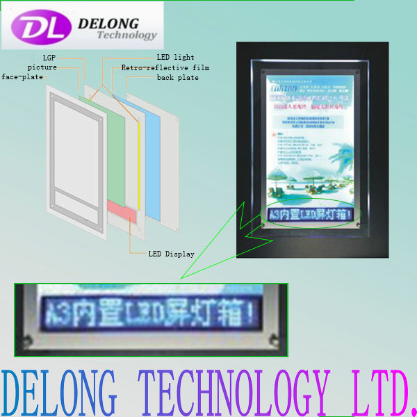 A3 crystal led light box with Red/Blue/Whit led scrolling display