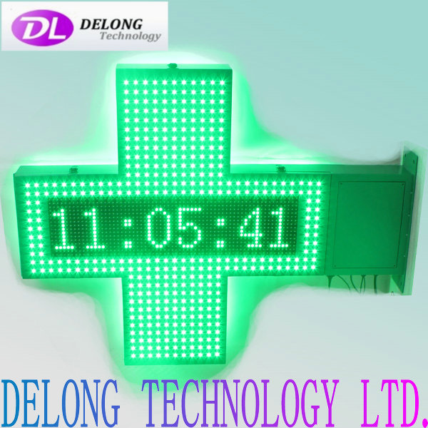 led cross pharmacy with double sides 80X80cm flashing green led and 16X64pixel remote control temperature led sign